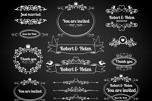 Chalkboard calligraphic frames