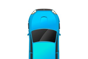 Top view of realistic blue car