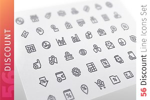 Discount Line Icons Set