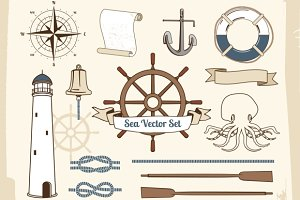 Vintage nautical decoration set