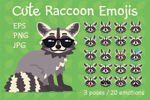 Cute Raccoon Emojis. Set.