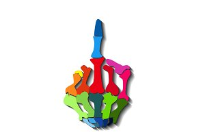 Colorful middle finger vector