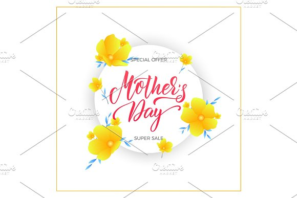 Mothers Day Mother's Day Sale Banner With Flowers And Lettering