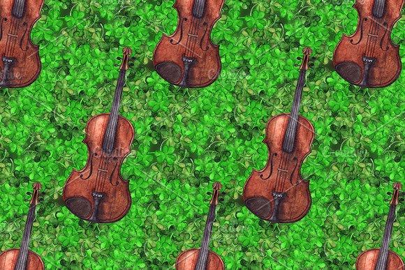 Watercolor Violin Clover Ireland Art