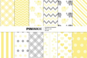 Cute Yellow Elephant Patterns