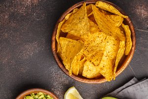 Nachos chips with guacamole
