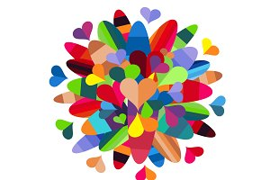 Colorful heart background with leafs
