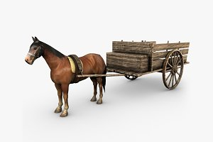 Horse and wooden cart