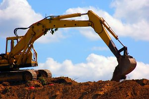Large excavator during work
