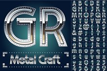 Metal aluminum alphabet with riveted