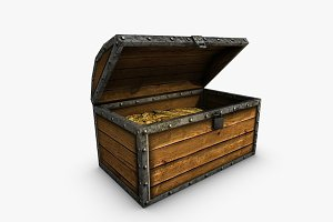 Low poly wooden chest with treasure