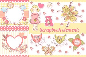 Vector scrapbook elements and frames