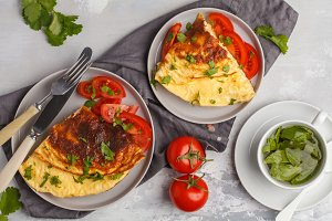 Egg omelet with cheese and vegetable