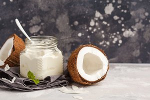 Coconut yoghurt and coconut milk