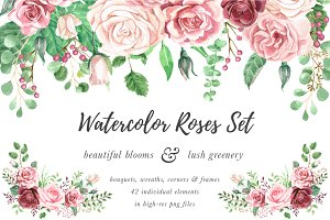 Watercolor Roses & Foliage Set