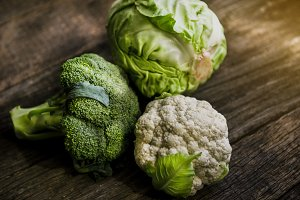 White cabbage, broccoli and cauliflo
