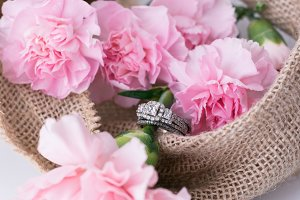 Pink Carnations & Diamond Ring