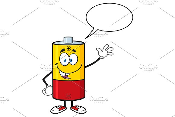 Happy Battery With Speech Bubble