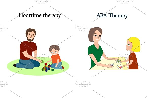 Vector set with the main methods of autism correction  ABA, flootime, RDI,  and son-rise therapy