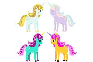 Cute unicorns. Cartoon fairy horses