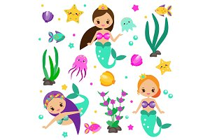 Cute mermaids set