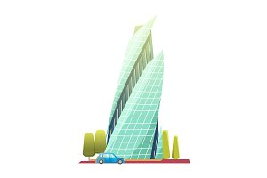 Downtown skyscrapers with shiny glass facades. Modern flat style vector illustration isolated on white background. Skyscraper with car and trees
