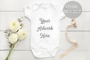 Baby onsie mockup, white renunculas