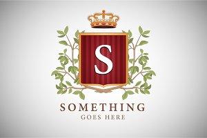 Vintage logo, floral heraldry emblem