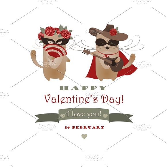 Couple of funny valentine cats ~ Illustrations ~ Creative ...