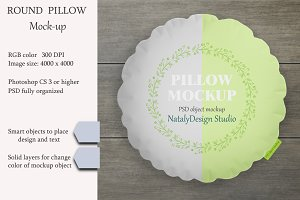 Round pillow mockup. Product mockup