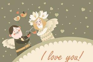 Angels celebrating Valentine's Day