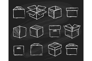 Boxes on chalk board