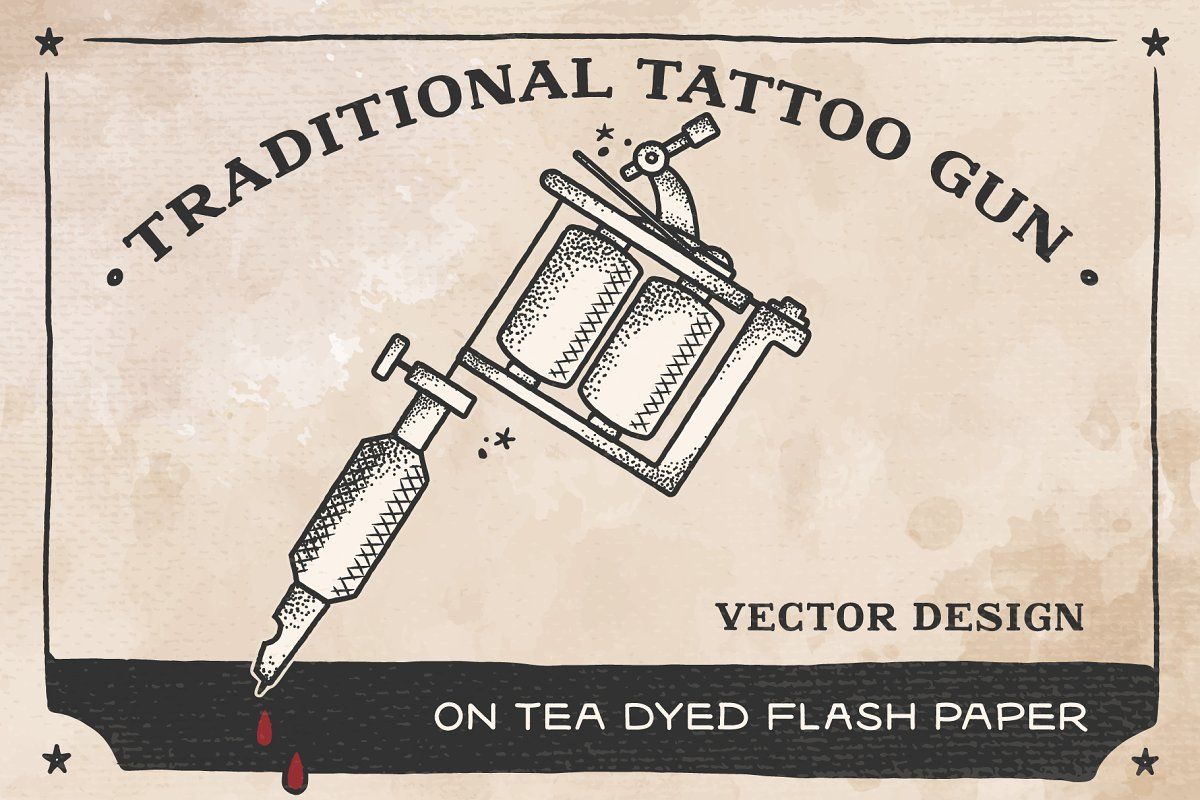 Calavera Tattoo Flash traditional tattoo gun vector