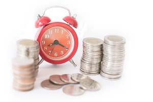 Red old fashioned alarm clock