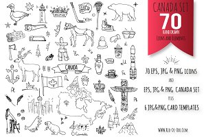 70 CANADA hand drawn elements!