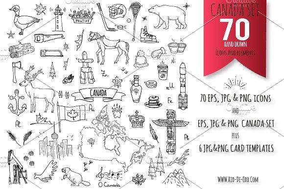 70 CANADA Hand Drawn Elements