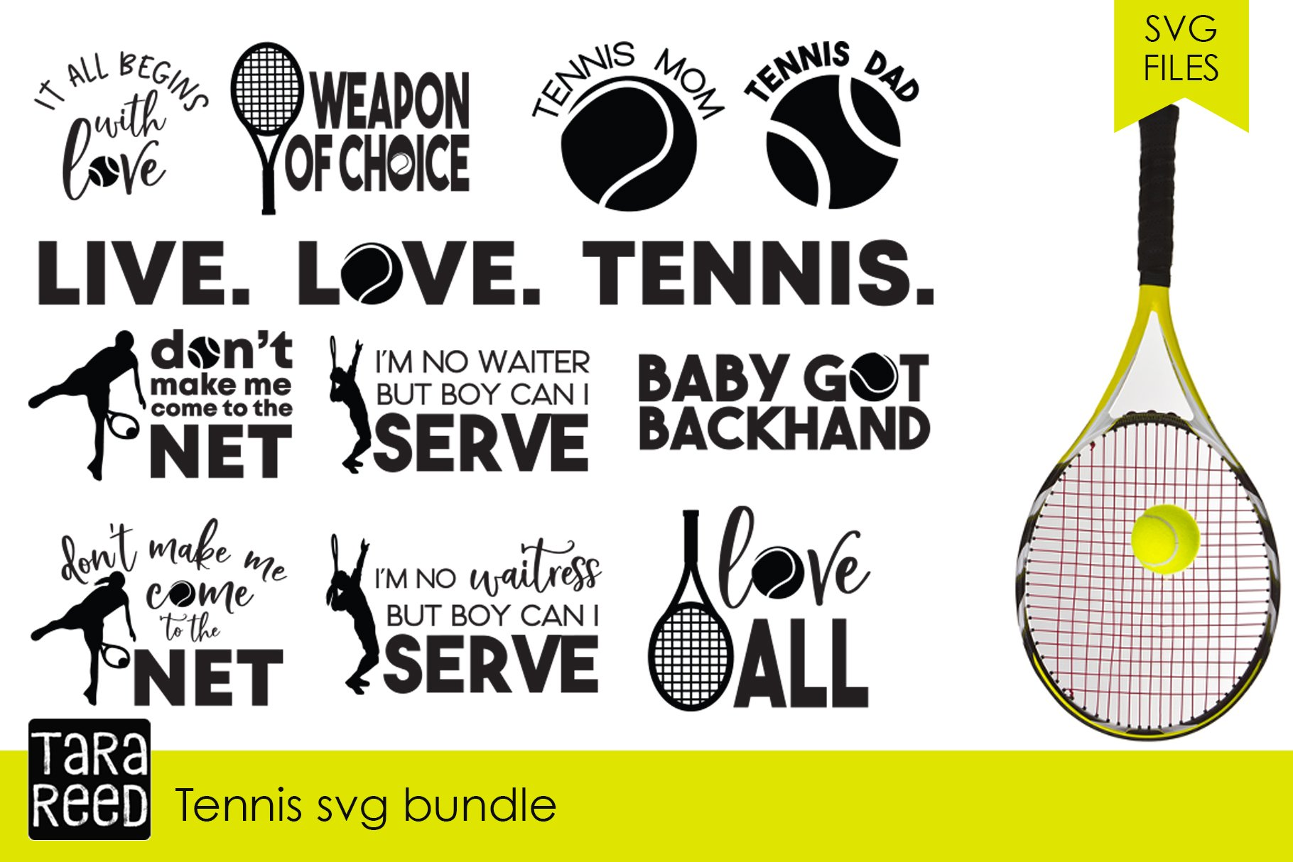 Tennis Svg Bundle Illustrations Creative Market