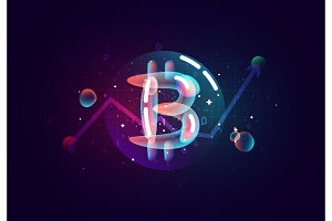 Bitcoin Crypto. Design of electronic cryptocurrency market finance, business concept coin money.