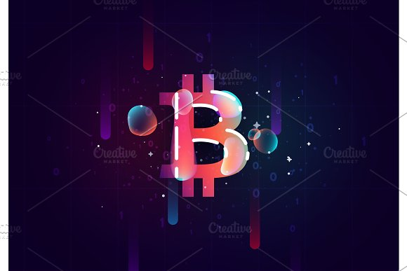 Bitcoin Crypto Design Of Electronic Cryptocurrency Market Finance Business Concept Coin Money