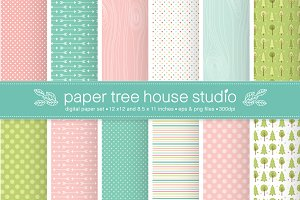 Happy Camper Digital Paper -Seamless