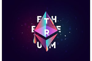 EthereumCrypto. Design of electronic cryptocurrency market finance, business concept coin money