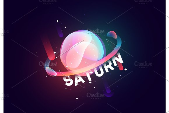 Saturn Planet Bright Abstract Illustration