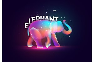 Elephant silhouette. Design illustration bright abstract of color splahs liquid
