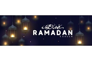 Ramadan greeting horizontal banner with arabic calligraphy Ramadan Kareem.
