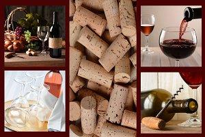Wine Collage: wine bottles glass