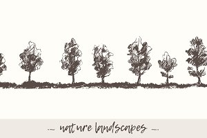Hand drawn nature landscapes