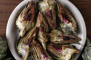 plate of grilled artichoke pieces