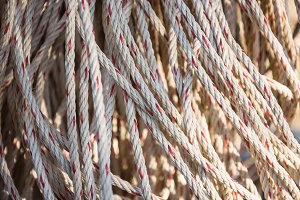 Old rope closeup, Twisted thick rope