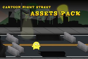 21 Cartoon Night Street Assets Pack