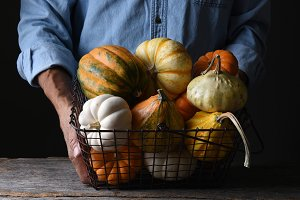 Farmer with Basket Autumn Vegetables